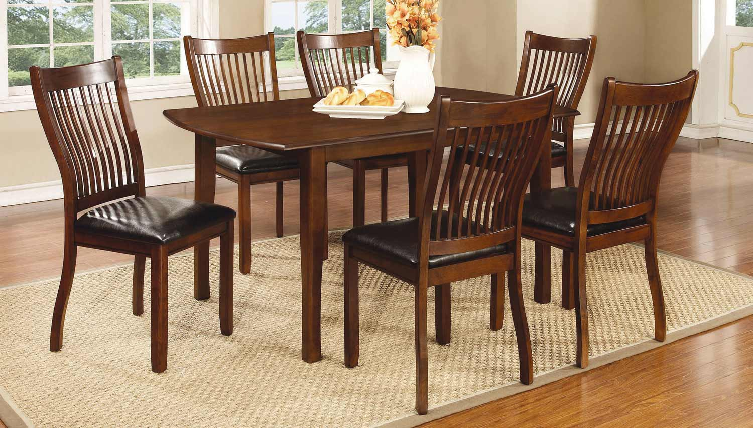 Coaster Sierra Dining Collection - Cherry Brown/Black Leatherette