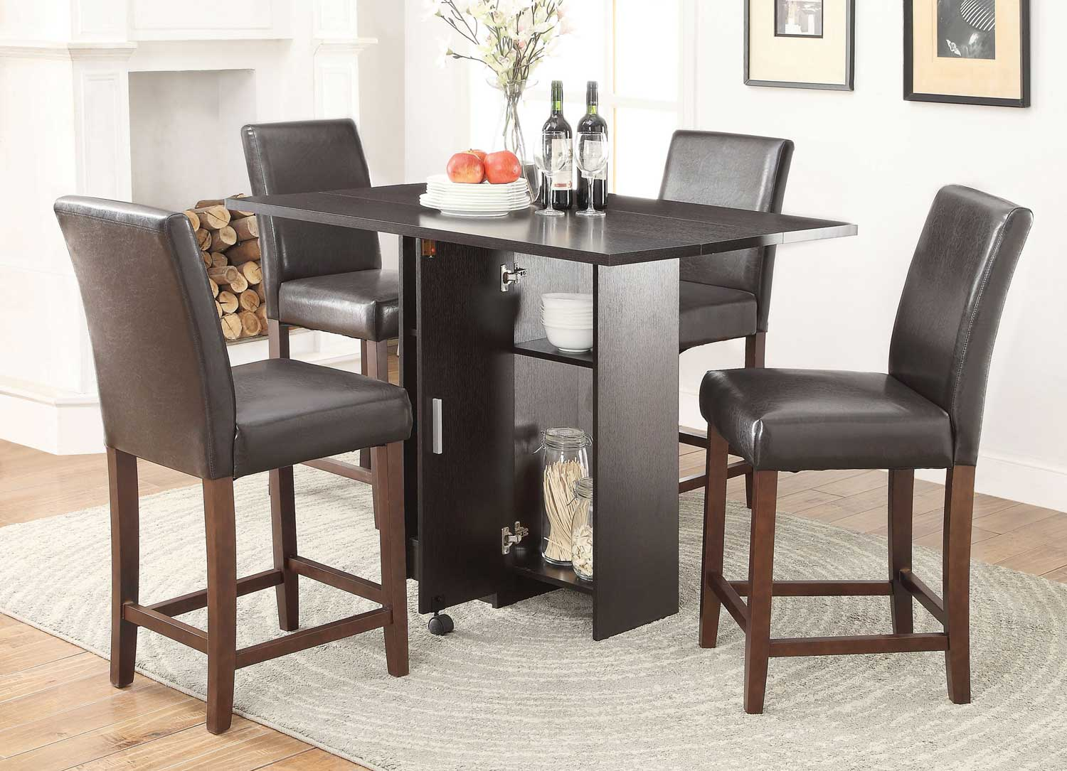 Coaster Vista Counter Height Dining Set - Red Cocoa