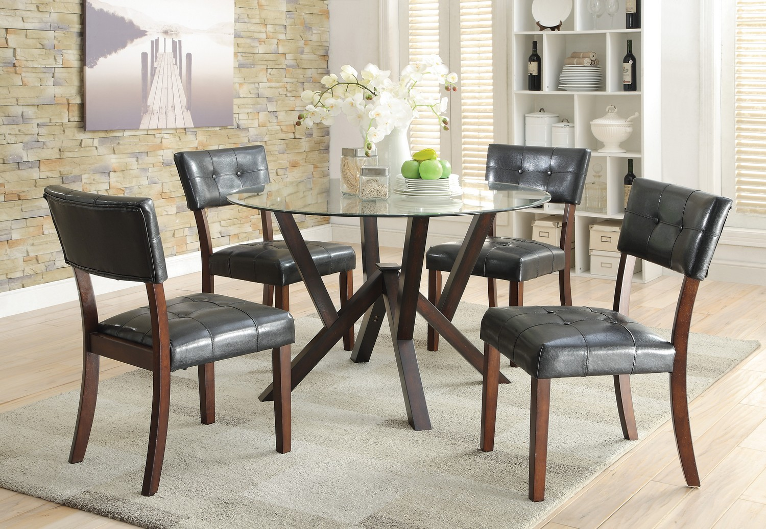 Coaster Beaux Glass Top Round Dining Set - Cappuccino/Glass Top