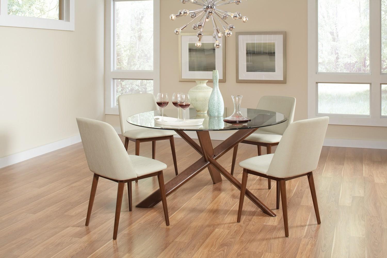 Coaster Barett Glass Top Round Dining Set - Chestnut