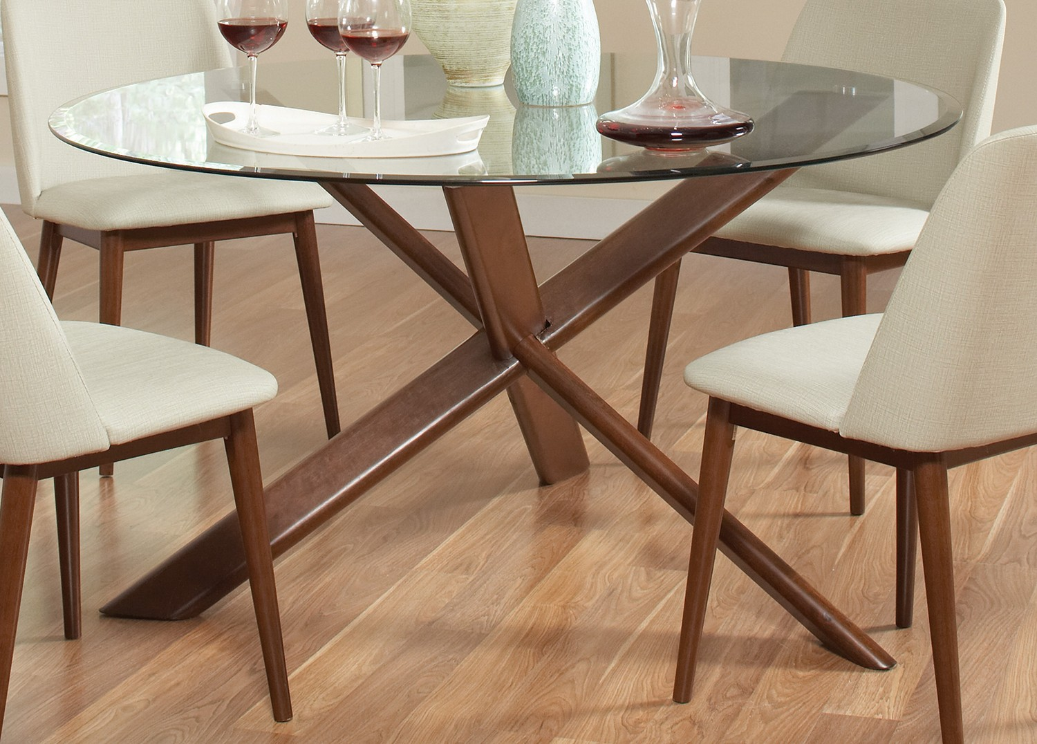 Coaster Barett Glass Top Round Dining Table Chestnut  At - Glass top round dining table