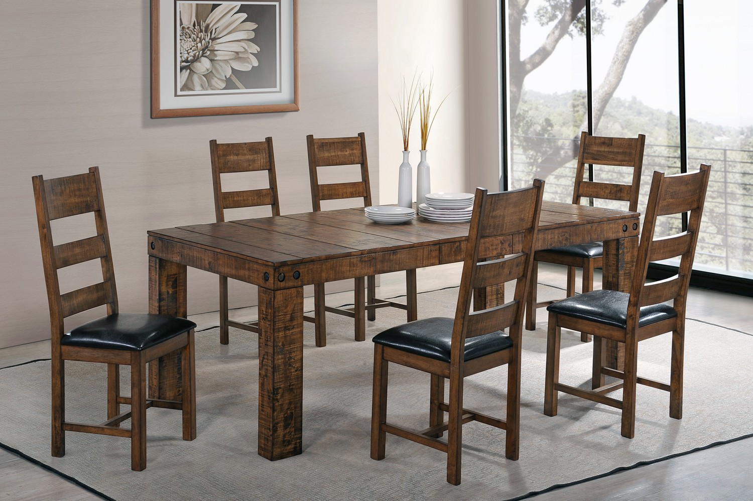 Coaster Murillo Dining Set - Rustic Honey