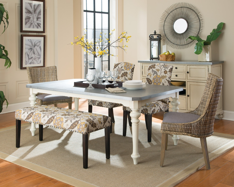 Coaster Matisse Dining Set - Antique White/Zinc Top