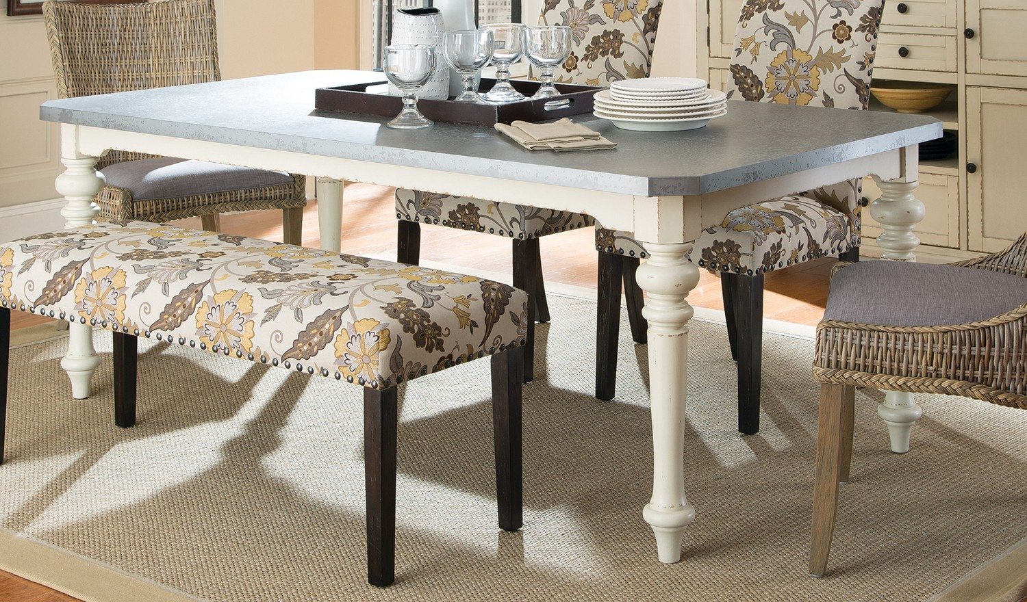 Coaster Matisse Metal Top Dining Table In Antique White 106111