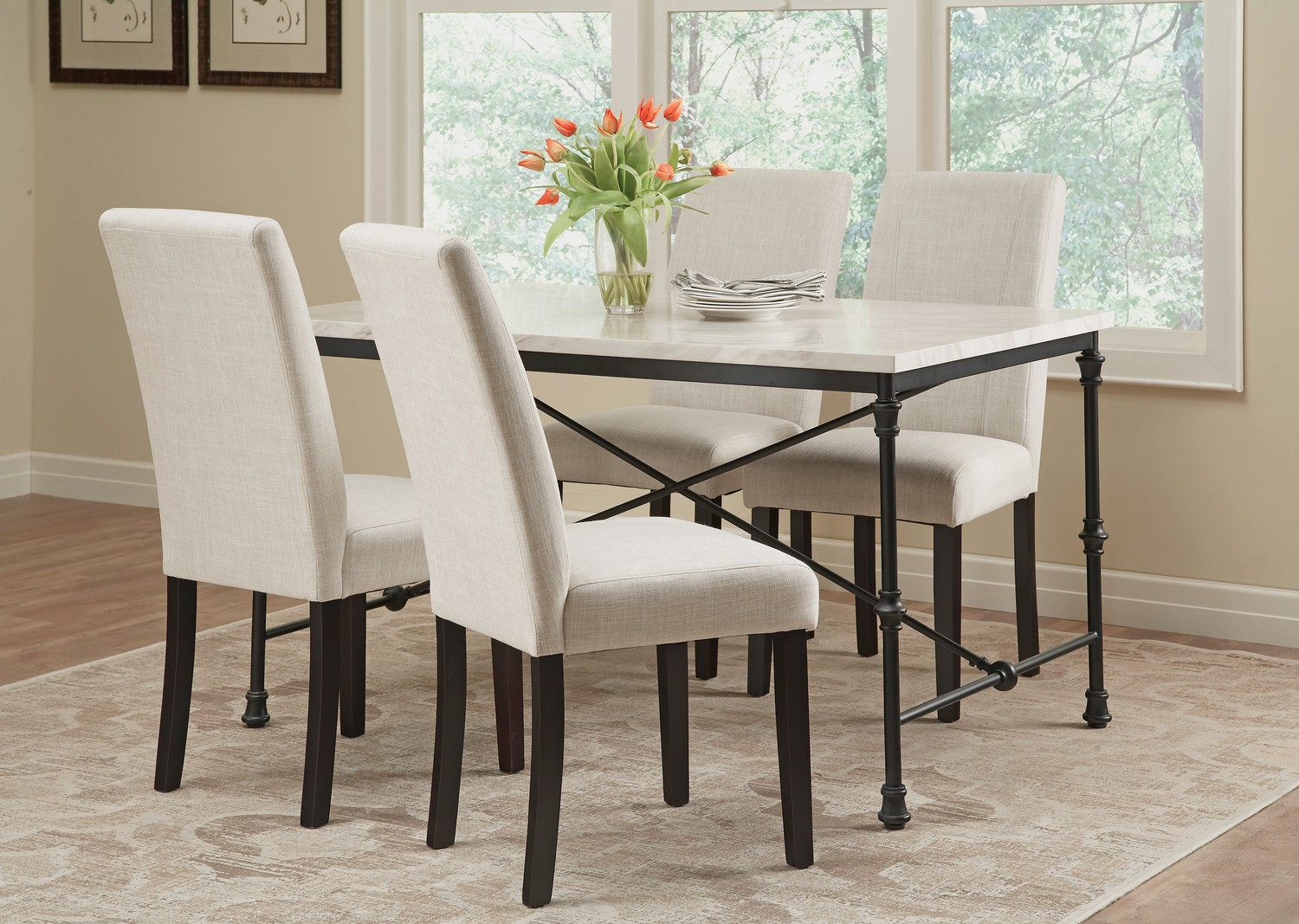Coaster Nagel Dining Table - Dark Rustic Metal/Faux Marble Top