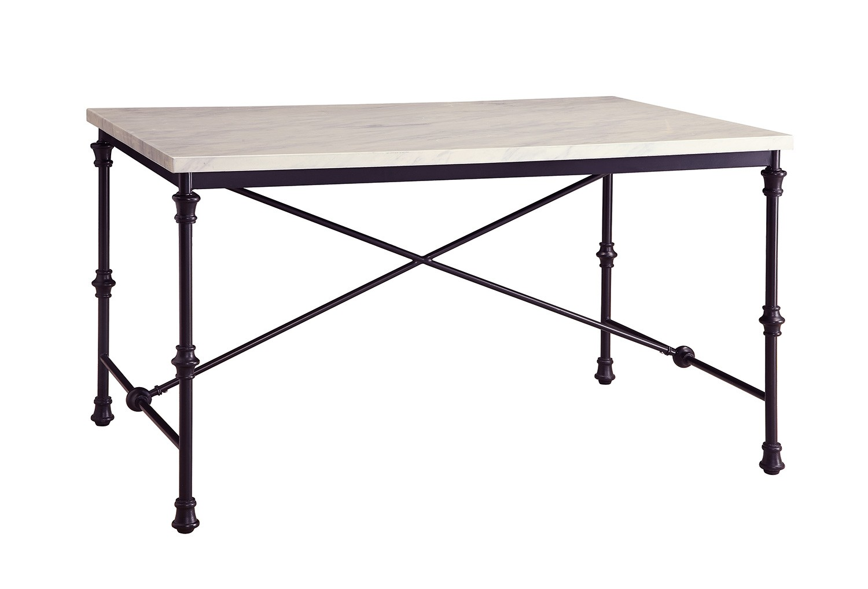 Coaster Nagel Dining Table - Dark Rustic Metal/Faux Marble Top
