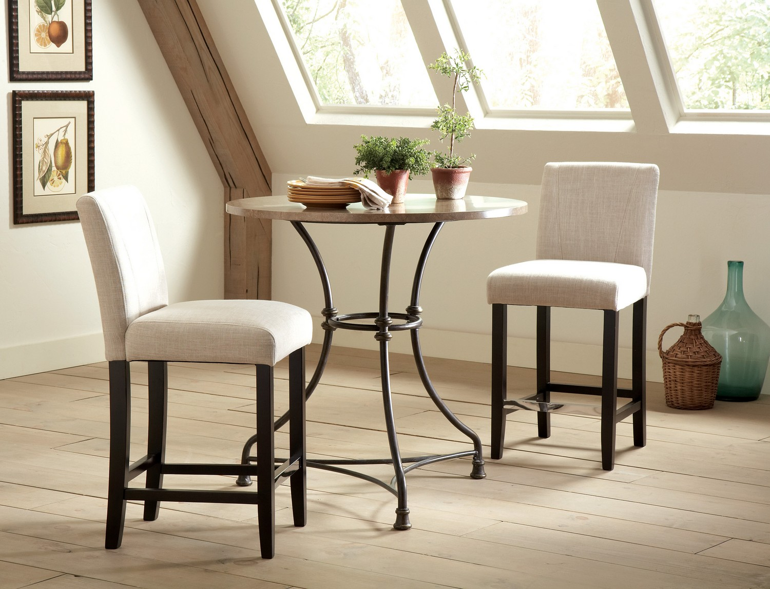 Coaster Lahner Round Counter Height Dining Set - Black Base