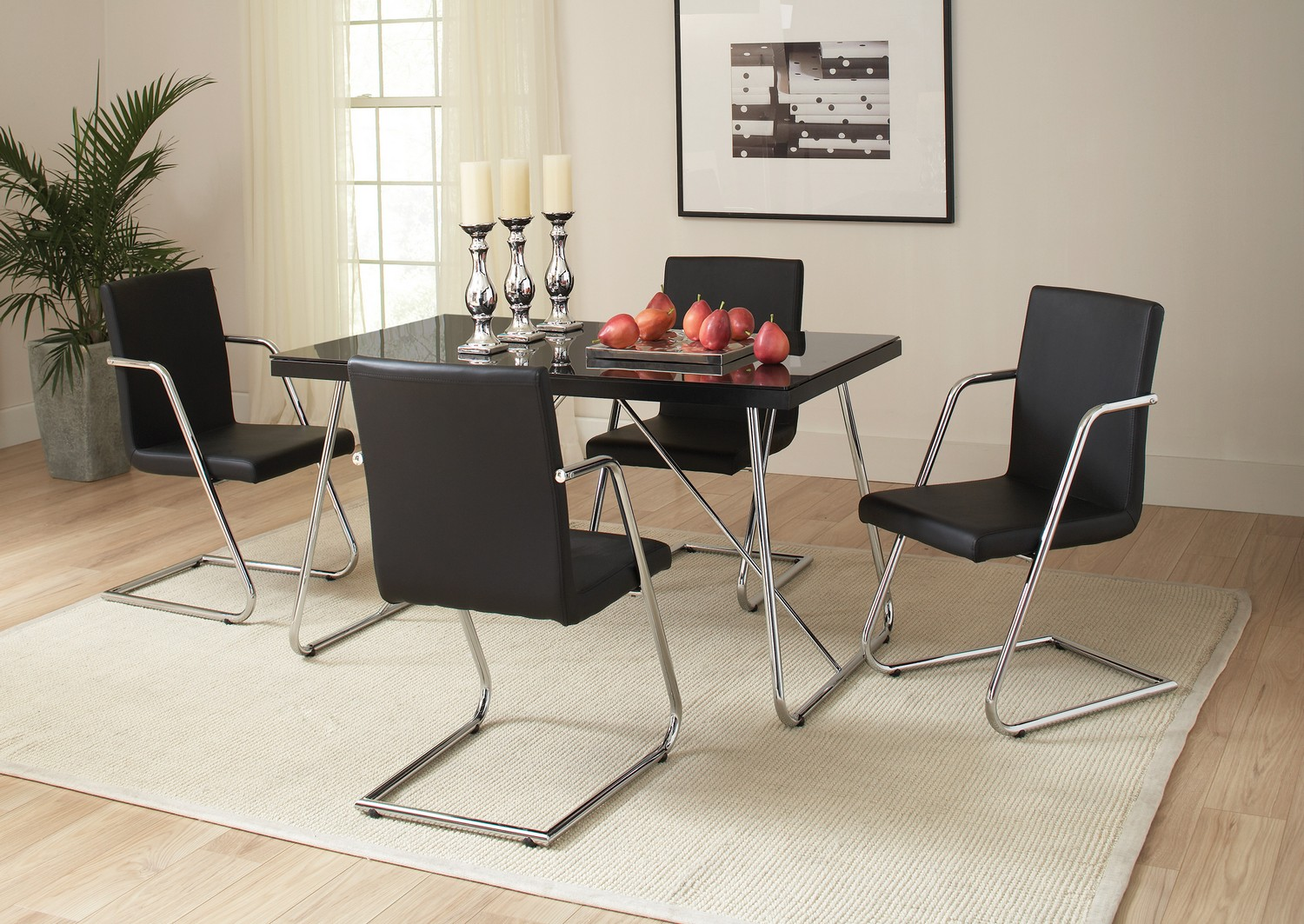 Coaster Avram Dining Table - Chrome/Black Glass