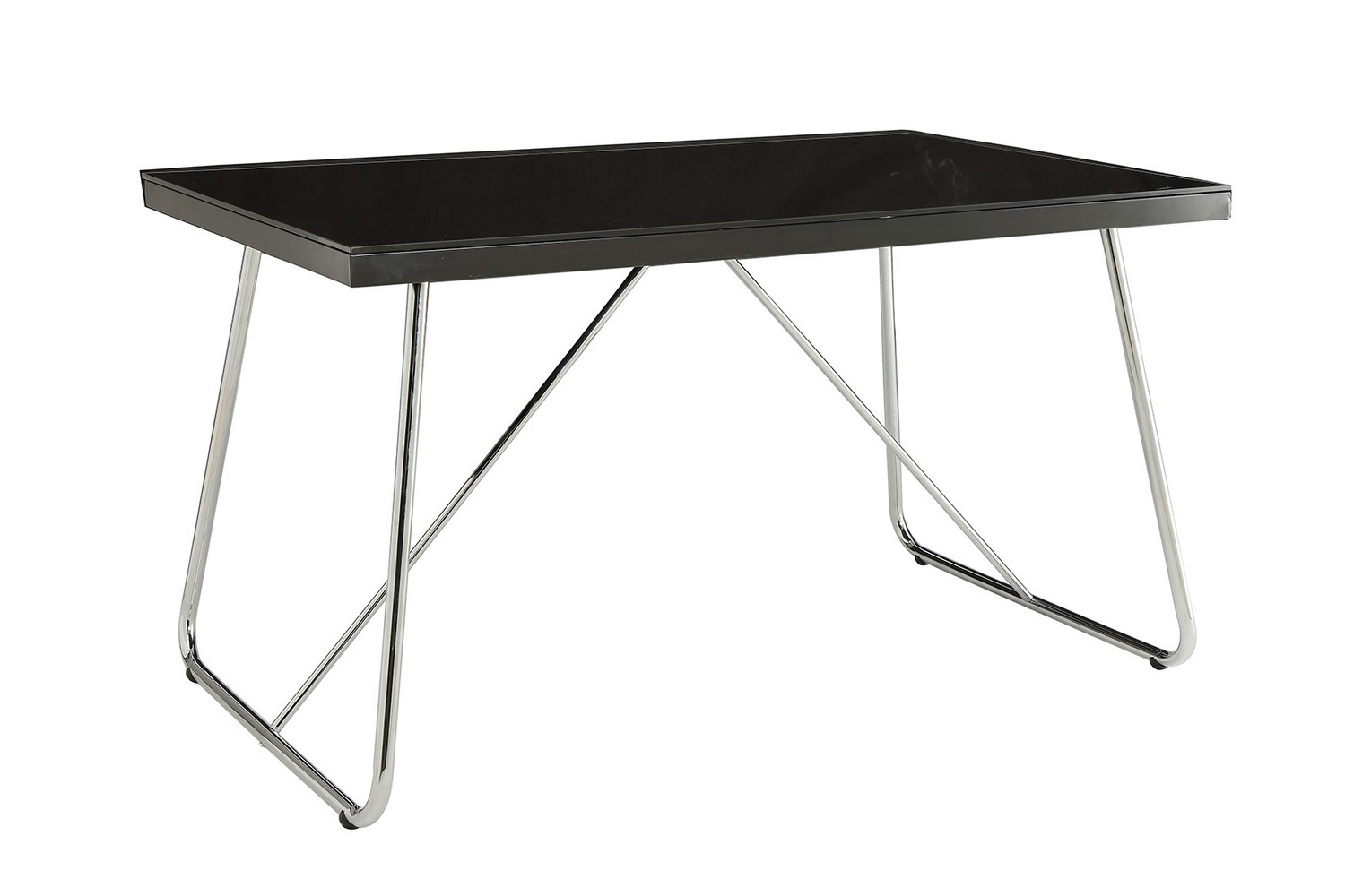 Coaster avram dining table chrome black glass 106211 at for Black glass dining table