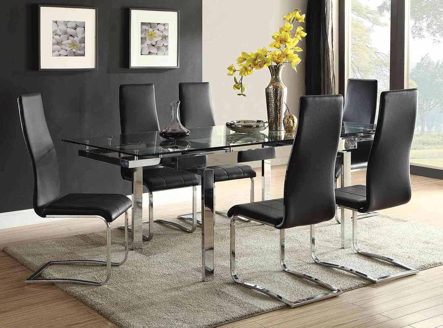 Coaster Wexford Rectangular Expandable Glass Dining Set   Chrome
