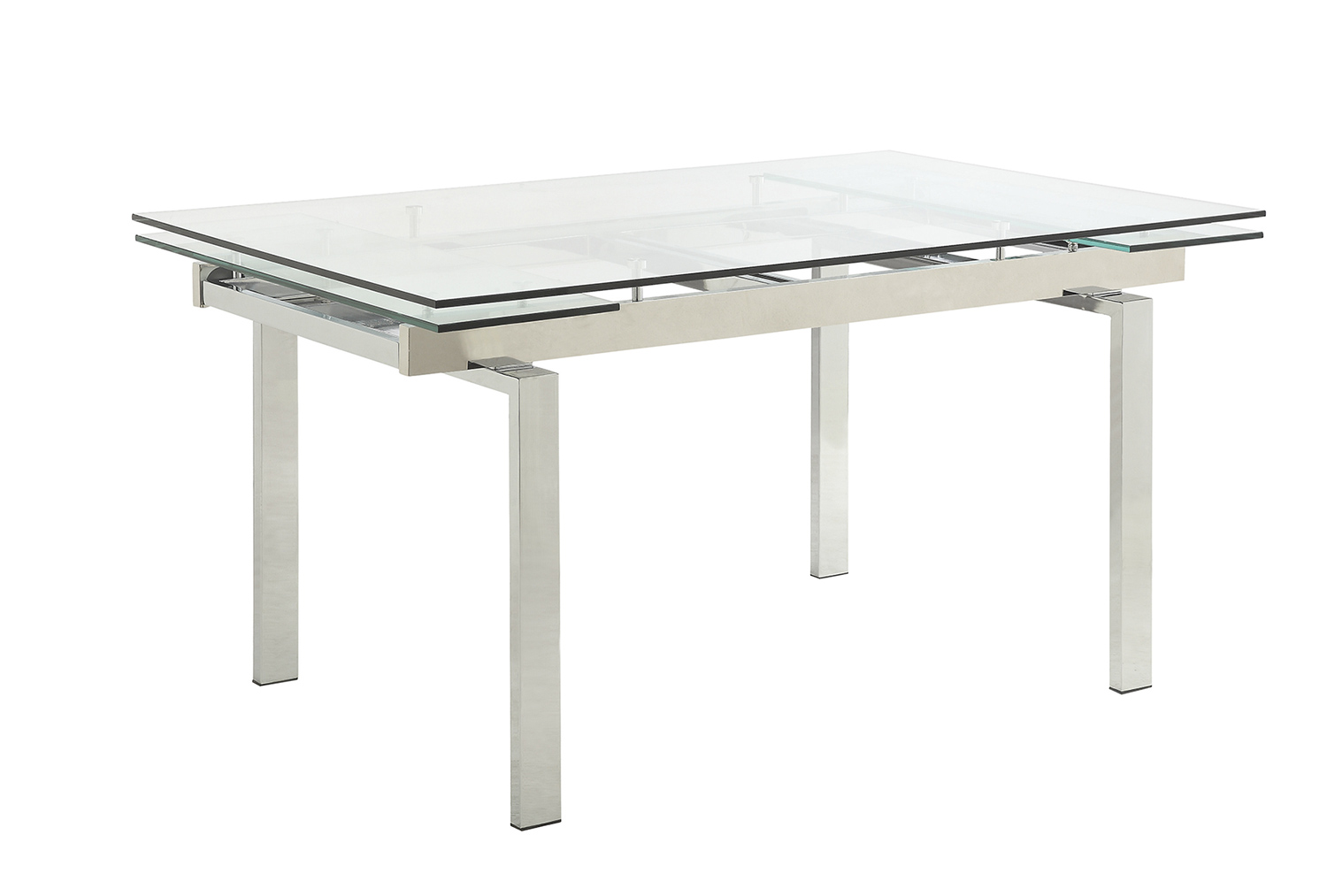 Coaster Wexford Rectangular Expandable Glass Dining Table - Chrome