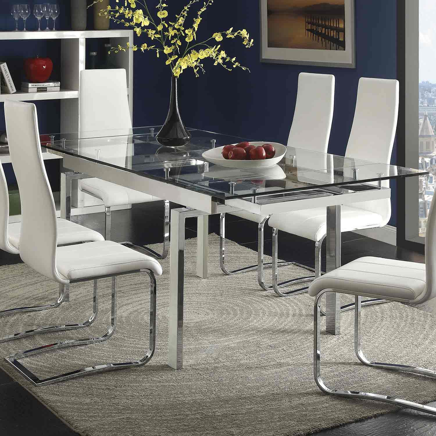 Coaster Wexford Rectangular Expandable Glass Dining Table   Chrome