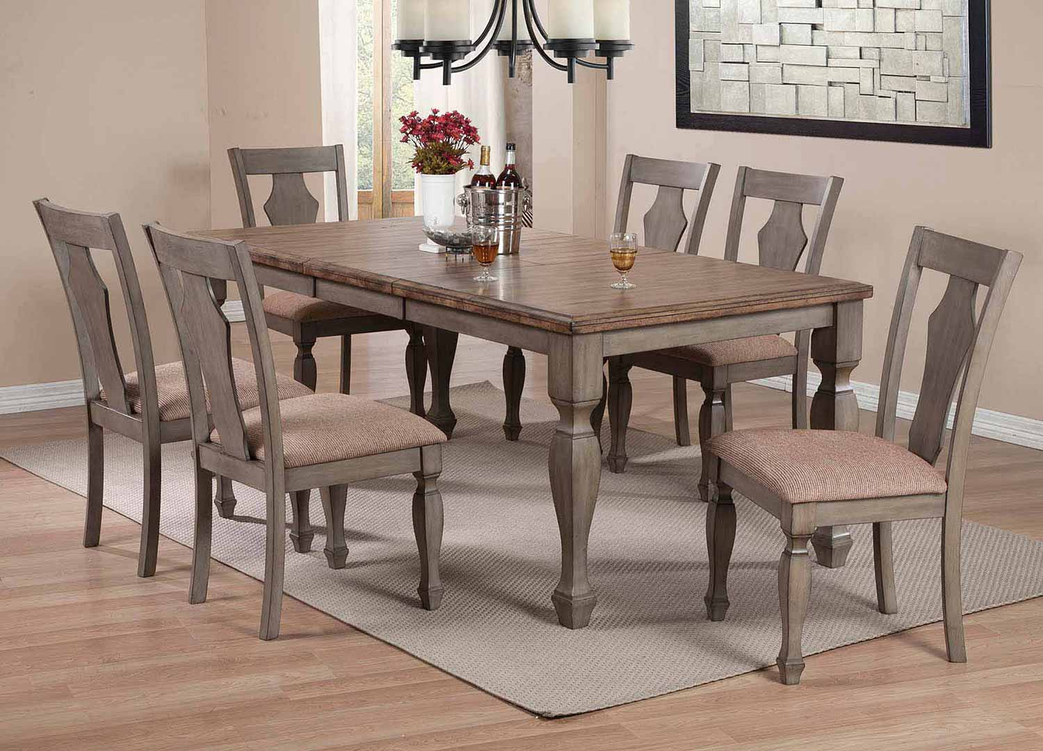 Coaster Riverbend Dining Set - Wheat/Antique Grey