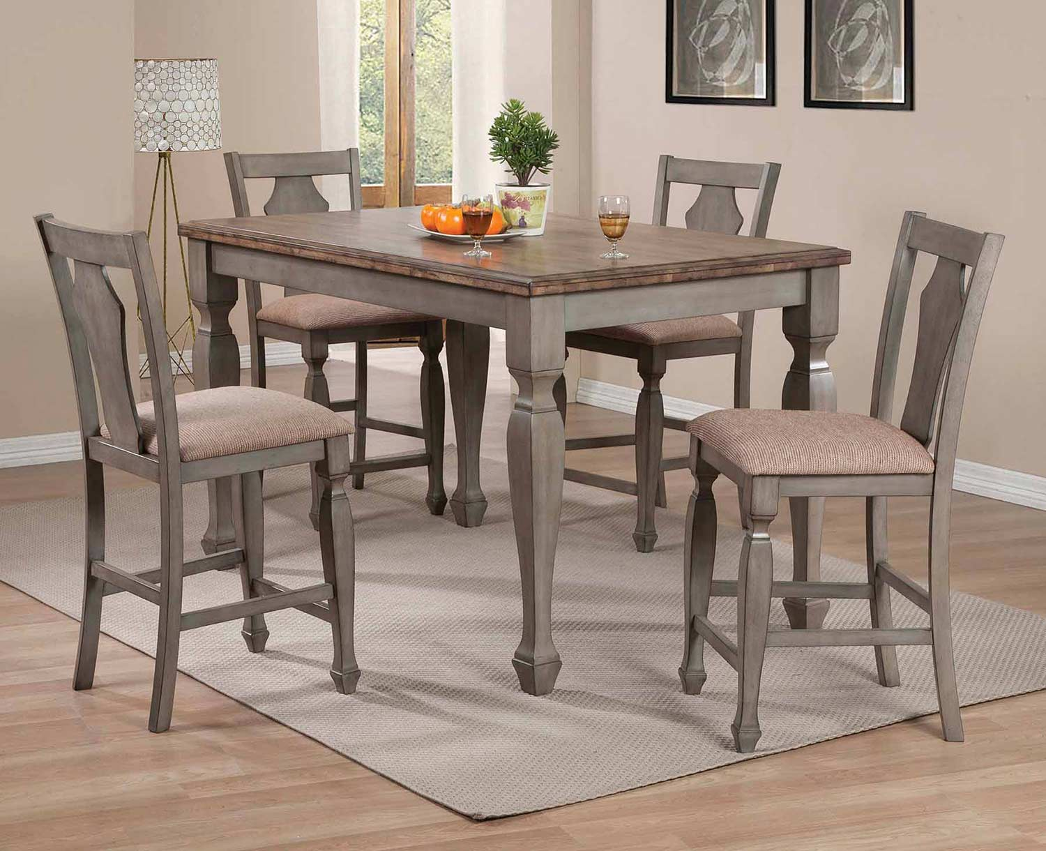 Coaster Riverbend Counter Height Dining Set - Wheat/Antique Grey