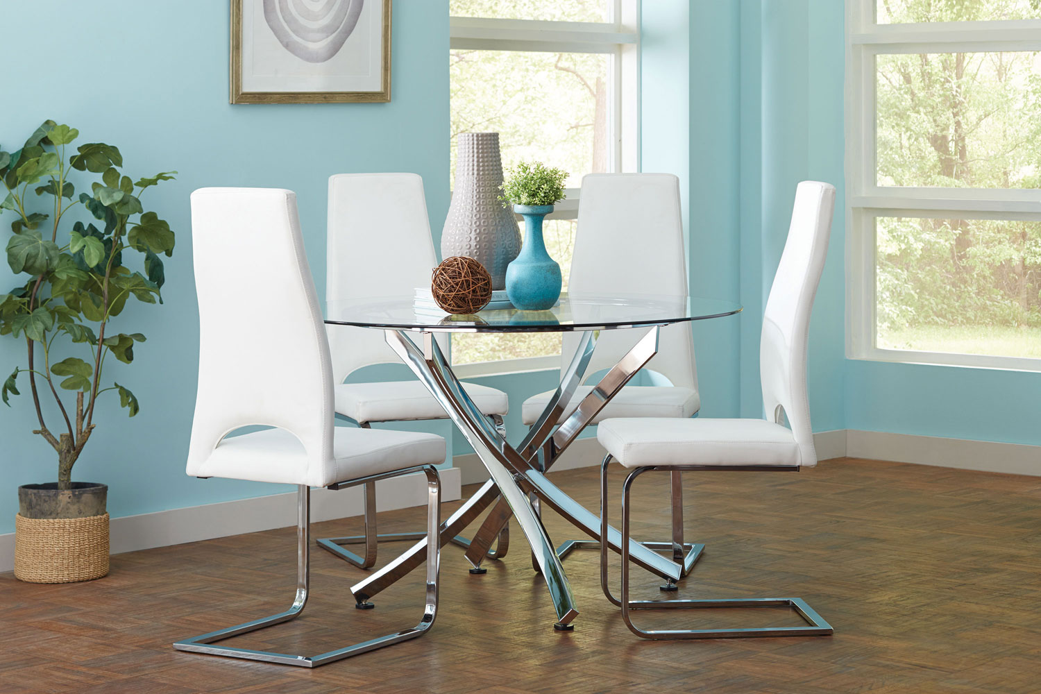 Coaster Augustin Round Glass Dining Set
