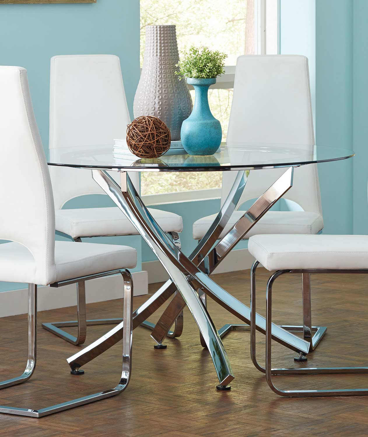 Coaster augustin round glass dining table chrome 106441 for Round glass and chrome dining table