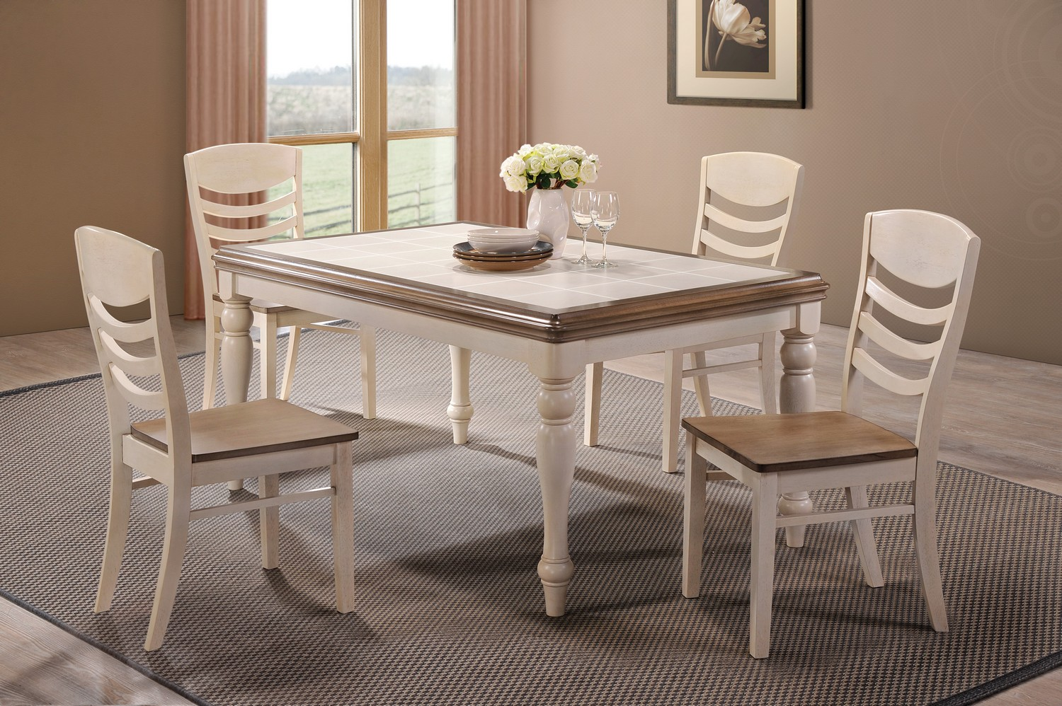 Coaster Allston Dining Set - Antique White - Golden Brown