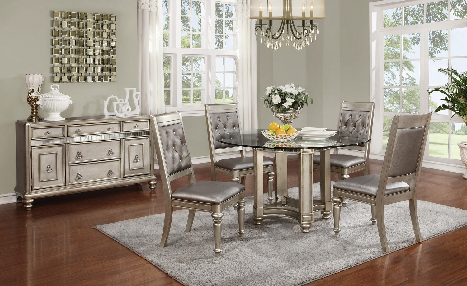 Coaster Danette Round Glass Top Dining Set - Metallic Platinum