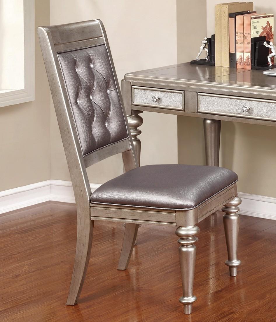 Coaster Danette Side Chair - Metallic Platinum/Metallic Leatherette