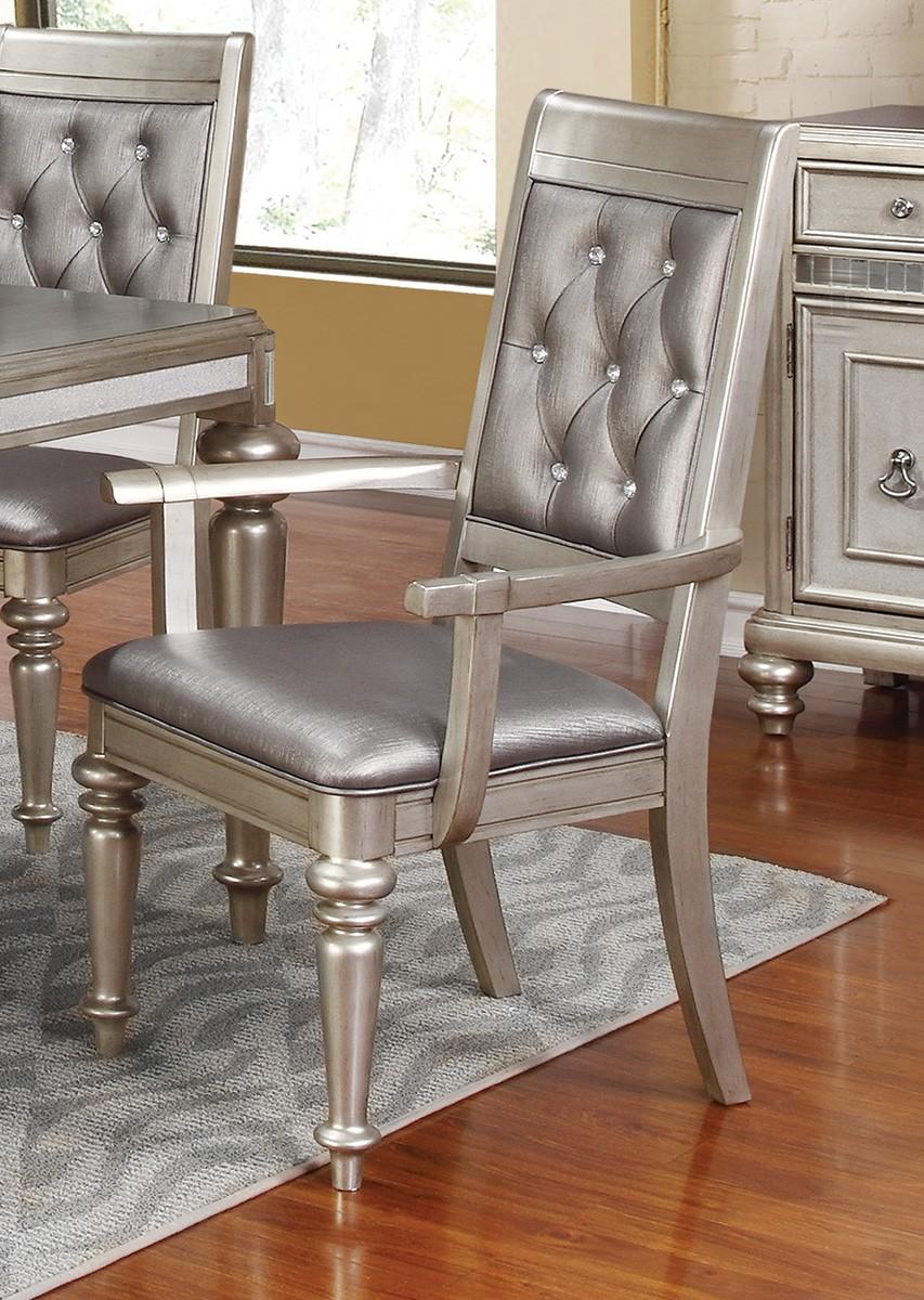 Coaster Danette Arm Chair - Metallic Platinum/Metallic Leatherette