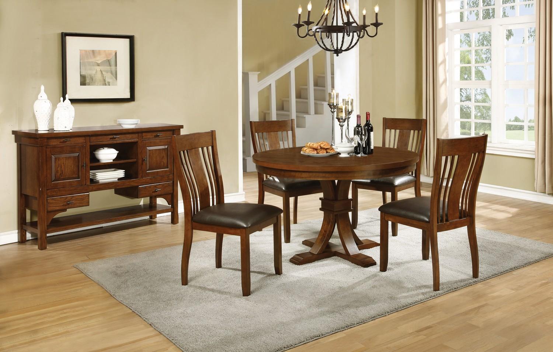 Coaster Abrams Round Dining Set - Truffle
