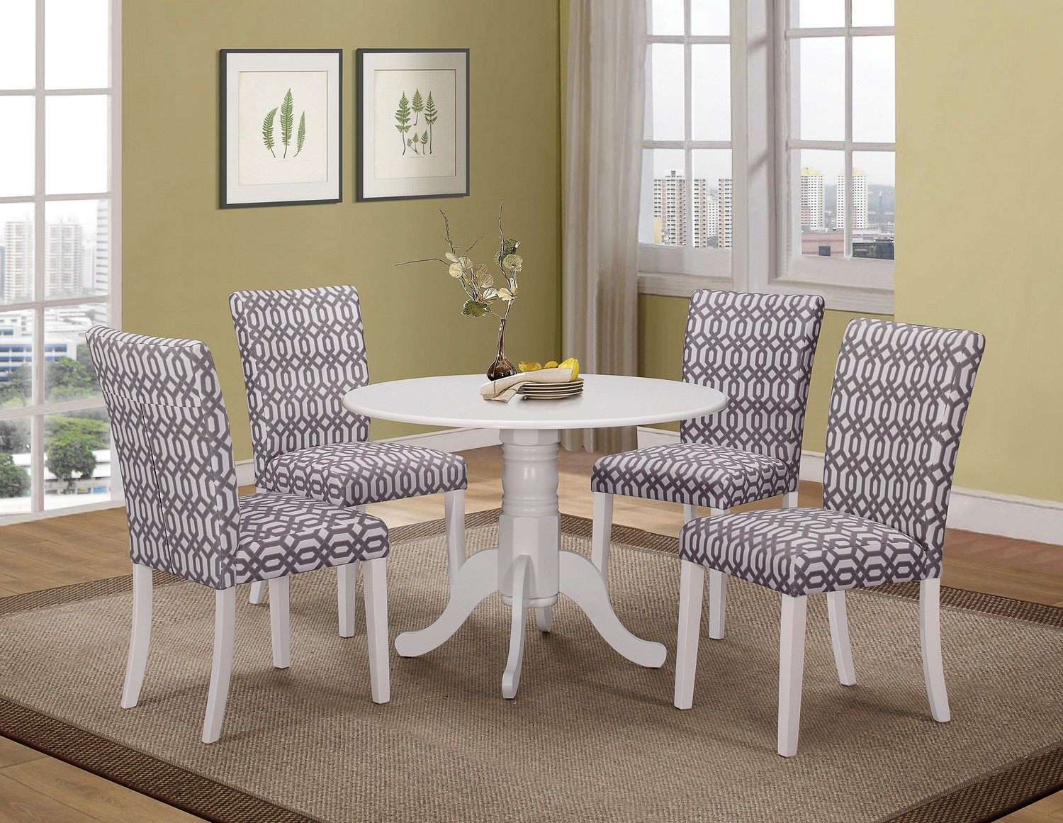 Coaster Allston Round Dining Set - White