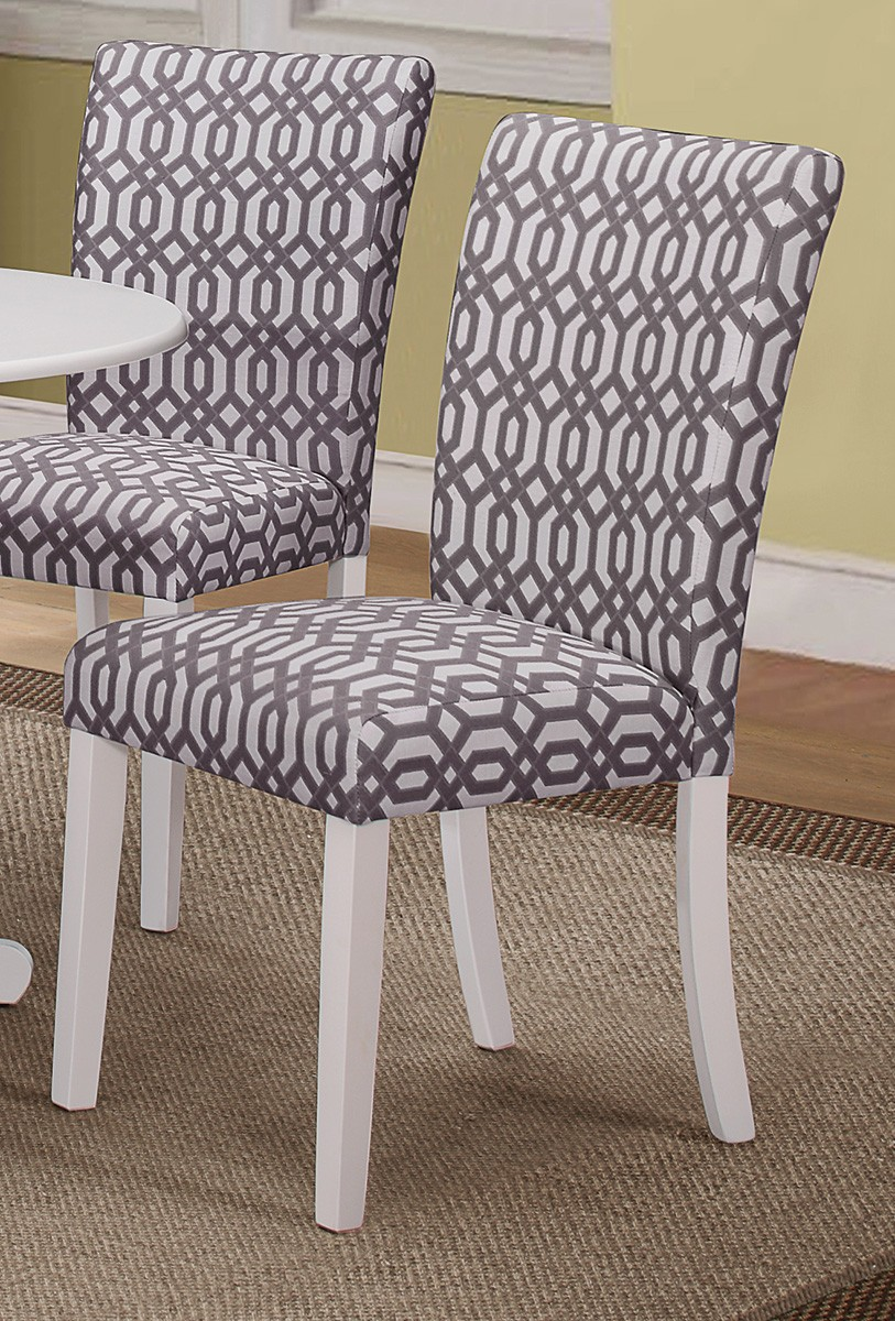 Coaster Allston Side Chair - White/Bold Graphic Grey and White Fabric
