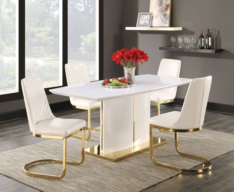 Coaster Cornelia Dining Set - High Gloss White