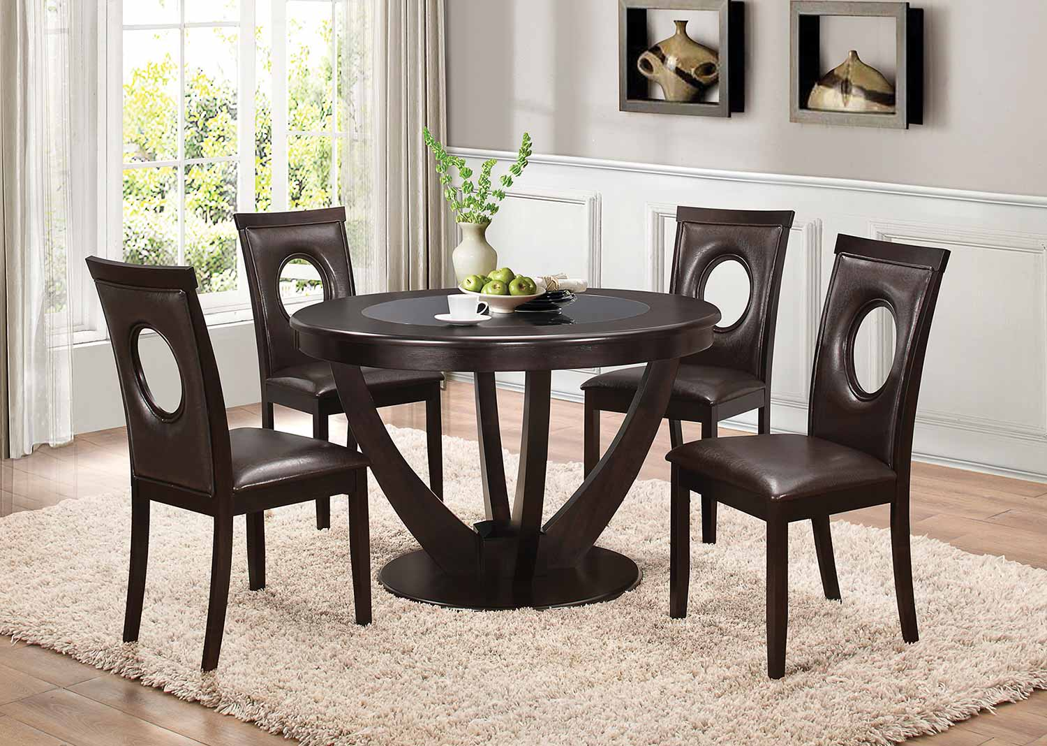 Coaster Stapleton Round Glass Dining Set - Cappuccino
