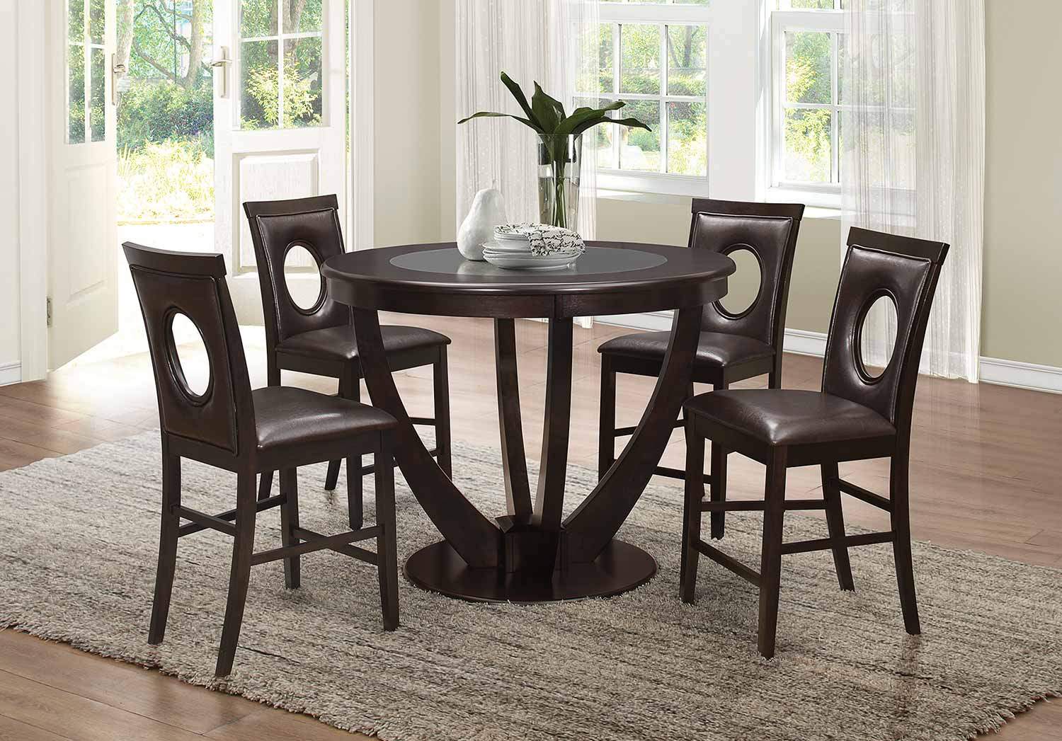 Coaster Stapleton Counter Height Round Glass Dining Set - Cappuccino