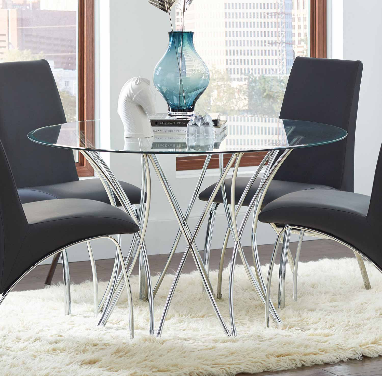 Coaster Cabianca Round Glass Dining Table - Metal