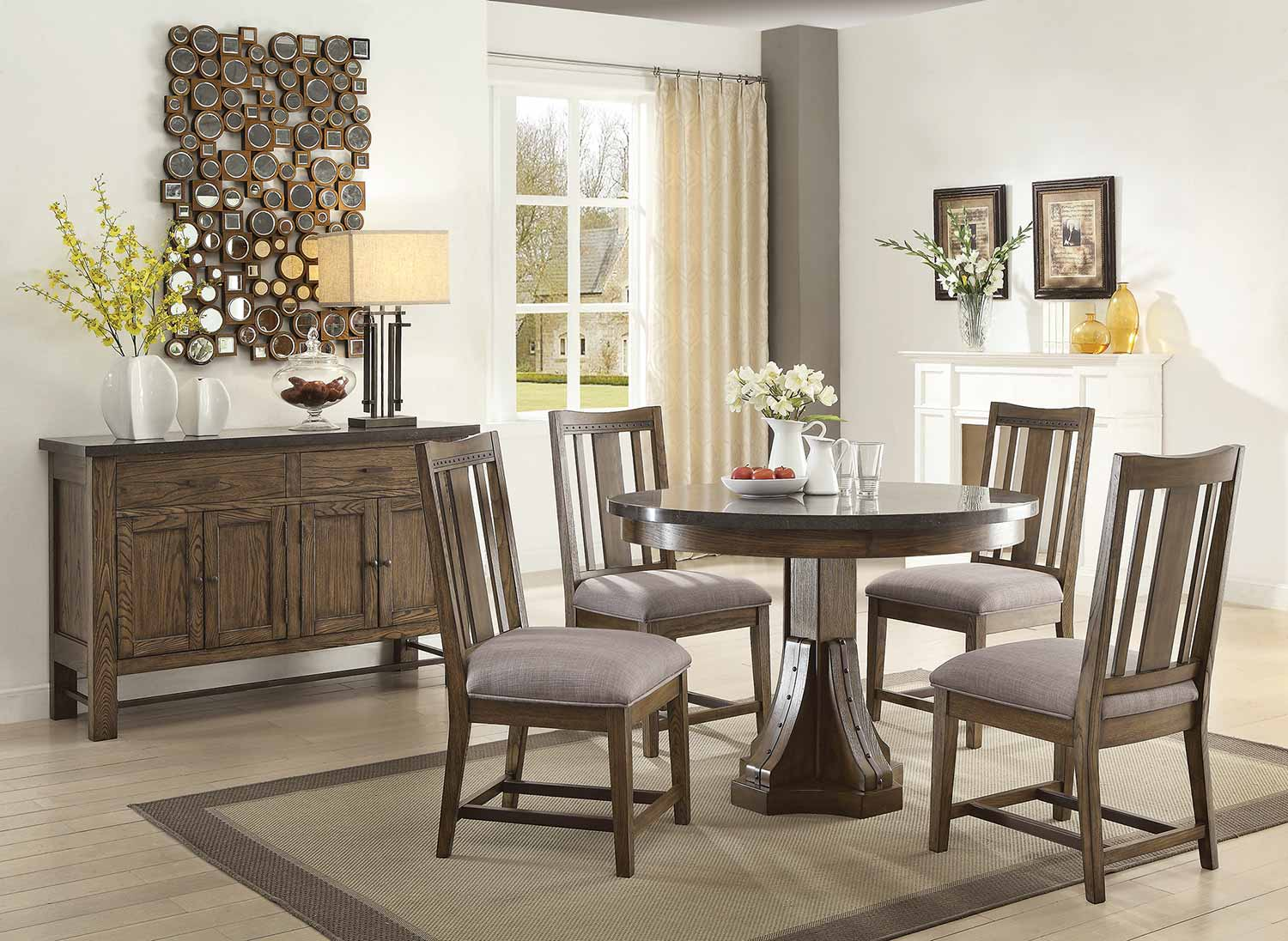 Coaster Willowbrook Round Dining Set - Rustic Ash/Gunmetal