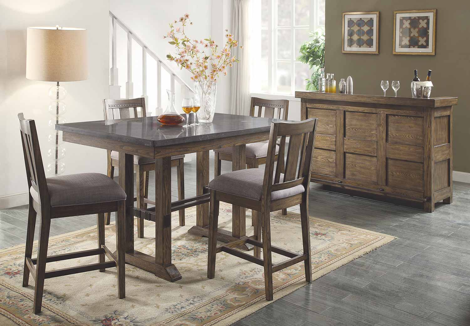 Coaster Willowbrook Counter Height Dining Set - Rustic Ash/Gunmetal
