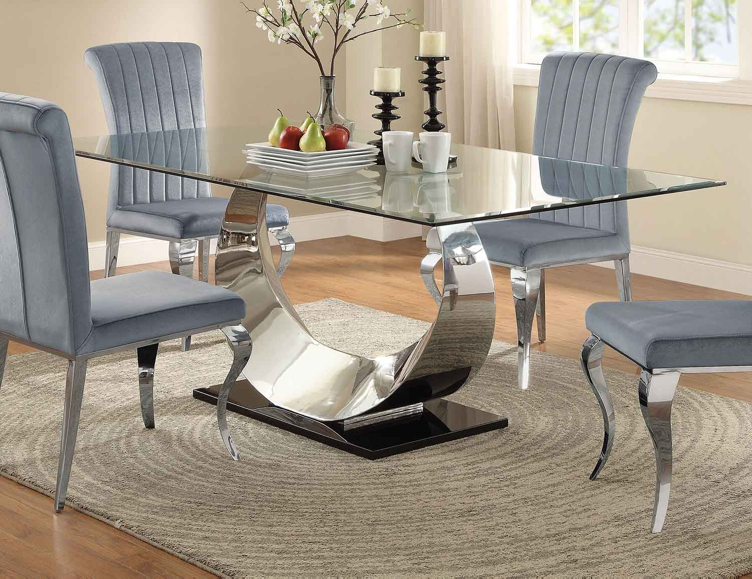 Picture of: Coaster Manessier Rectangular Glass Dining Table Chrome 107051 At Homelement Com