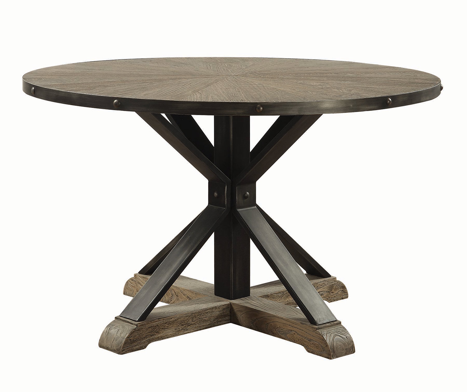 coaster tobin round dining table driftwood grey finish