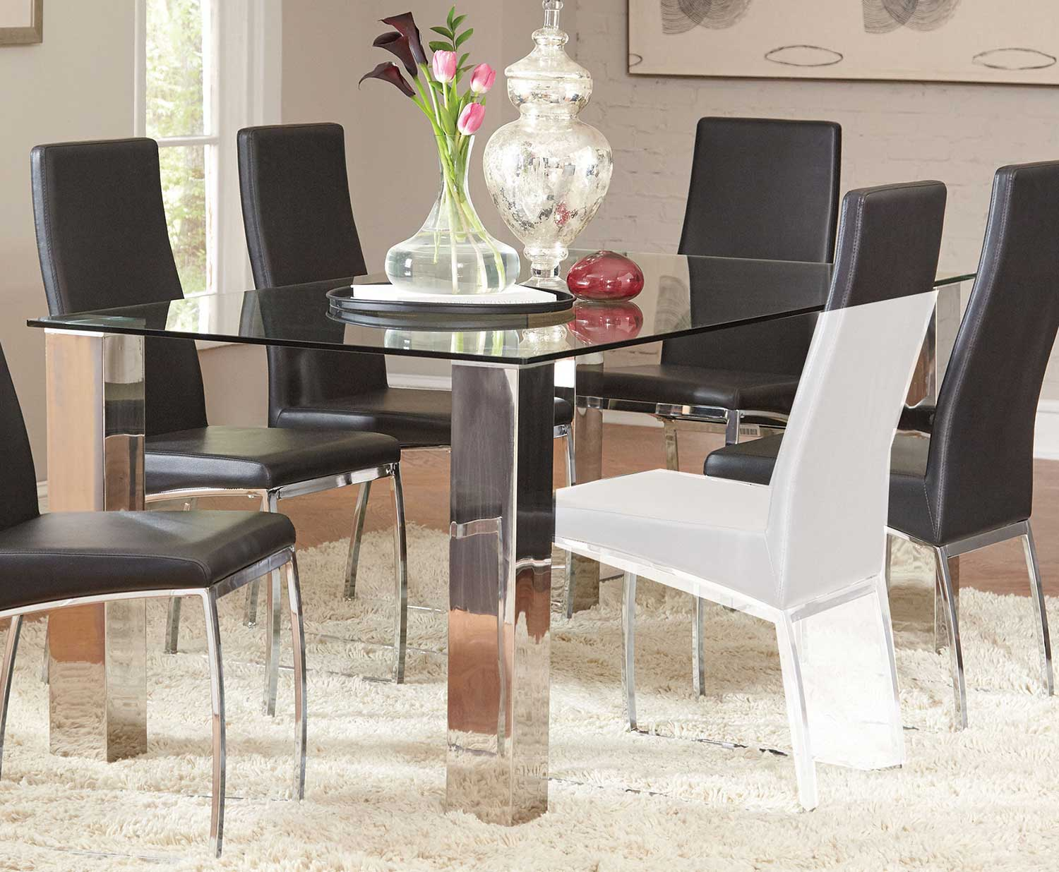 rectangle glass dining room table. Coaster Bellini Rectangular Glass Dining Table  Stainless Steel Black