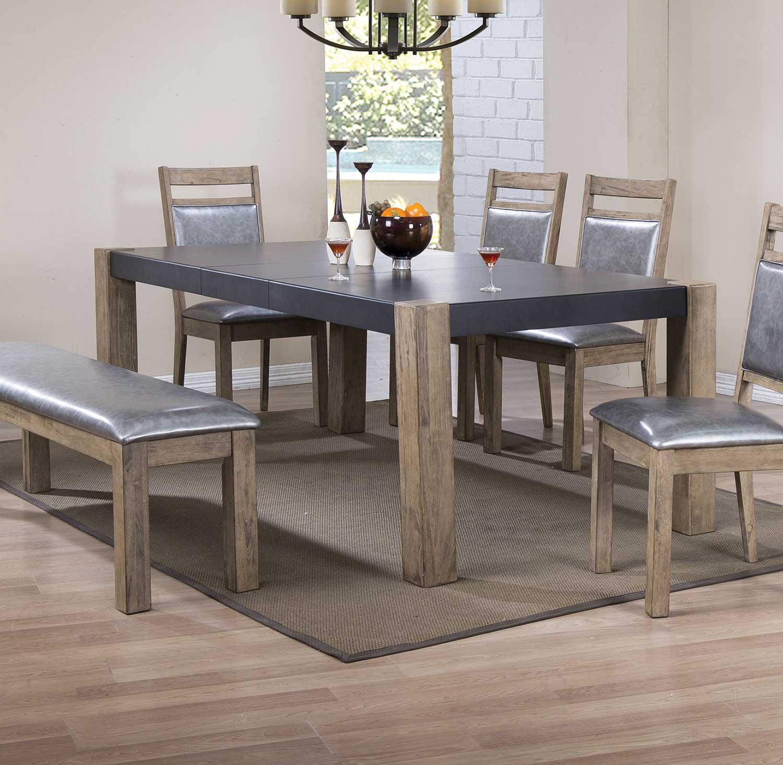 Coaster Ludolf Rectangular Dining Table with Leaf   Dark Concrete Antique  NaturalCoaster Ludolf Rectangular Dining Table with Leaf   Dark Concrete  . Rectangular Dining Tables With Leaves. Home Design Ideas