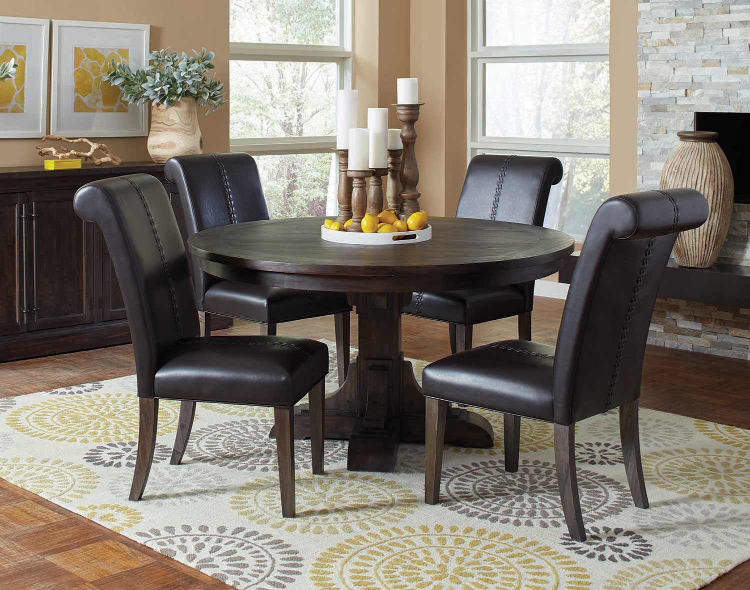 Coaster Weber Round Dining Set - Smokey Black
