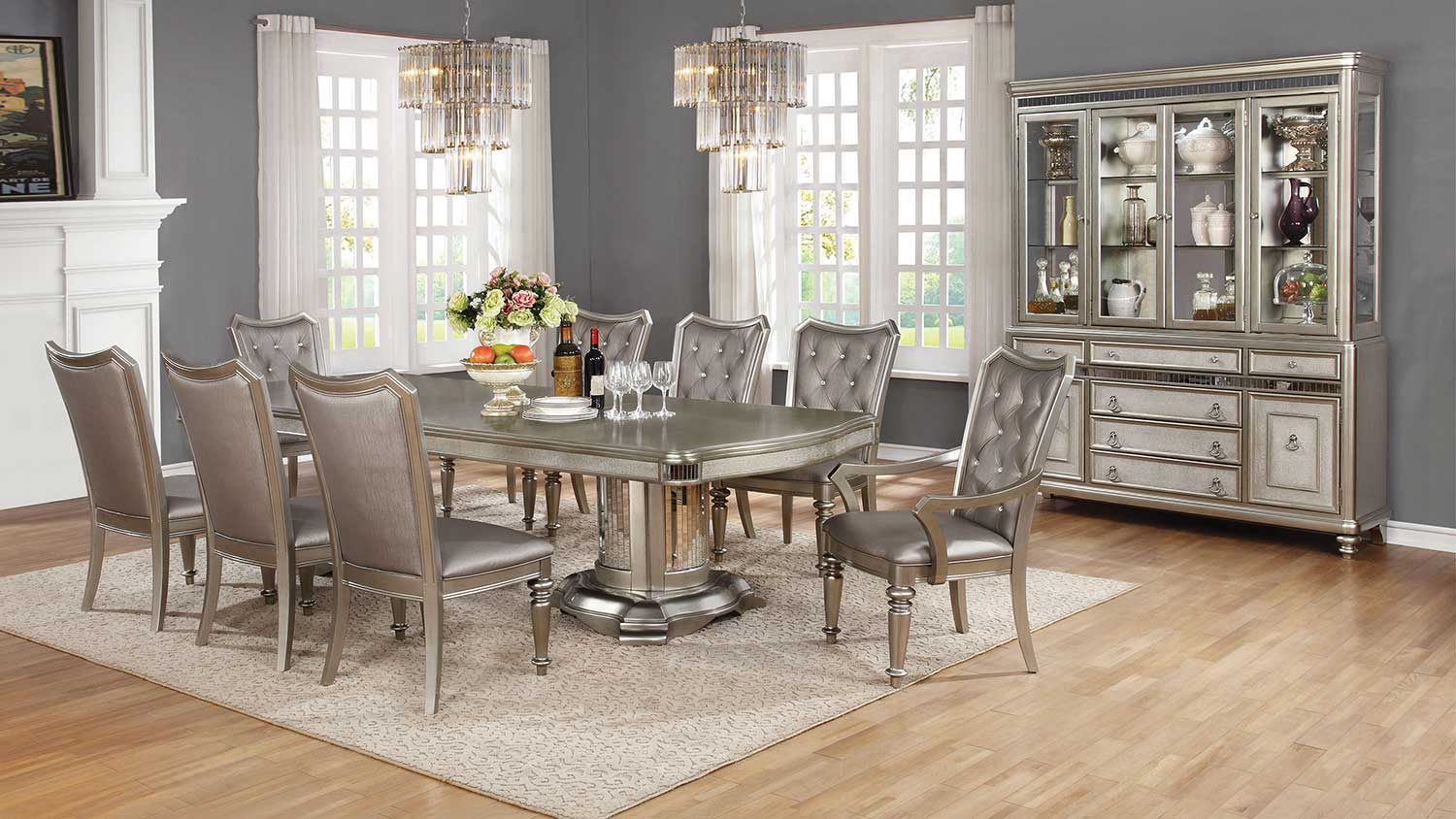 Coaster Danette Dining Set - Metallic Platinum