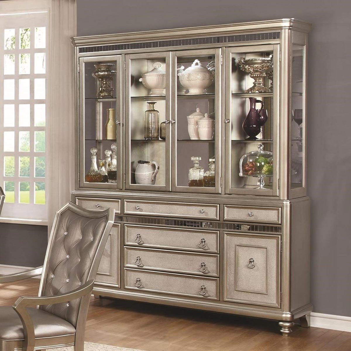 Coaster Danette China Cabinet - Metallic Platinum