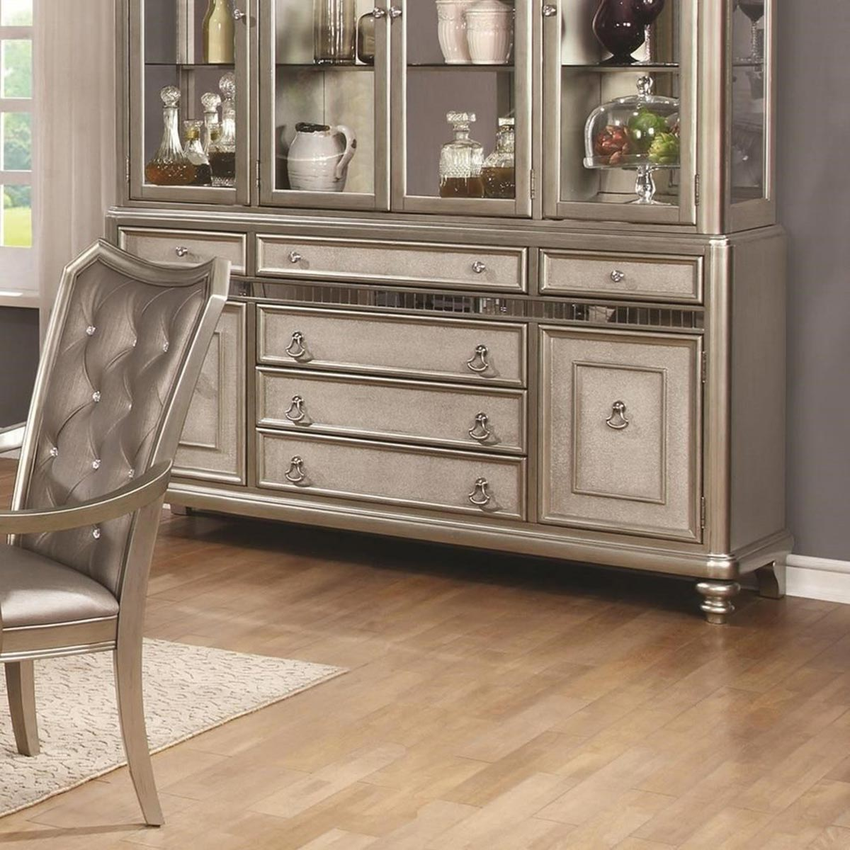 Coaster Danette Buffet Server - Metallic Platinum