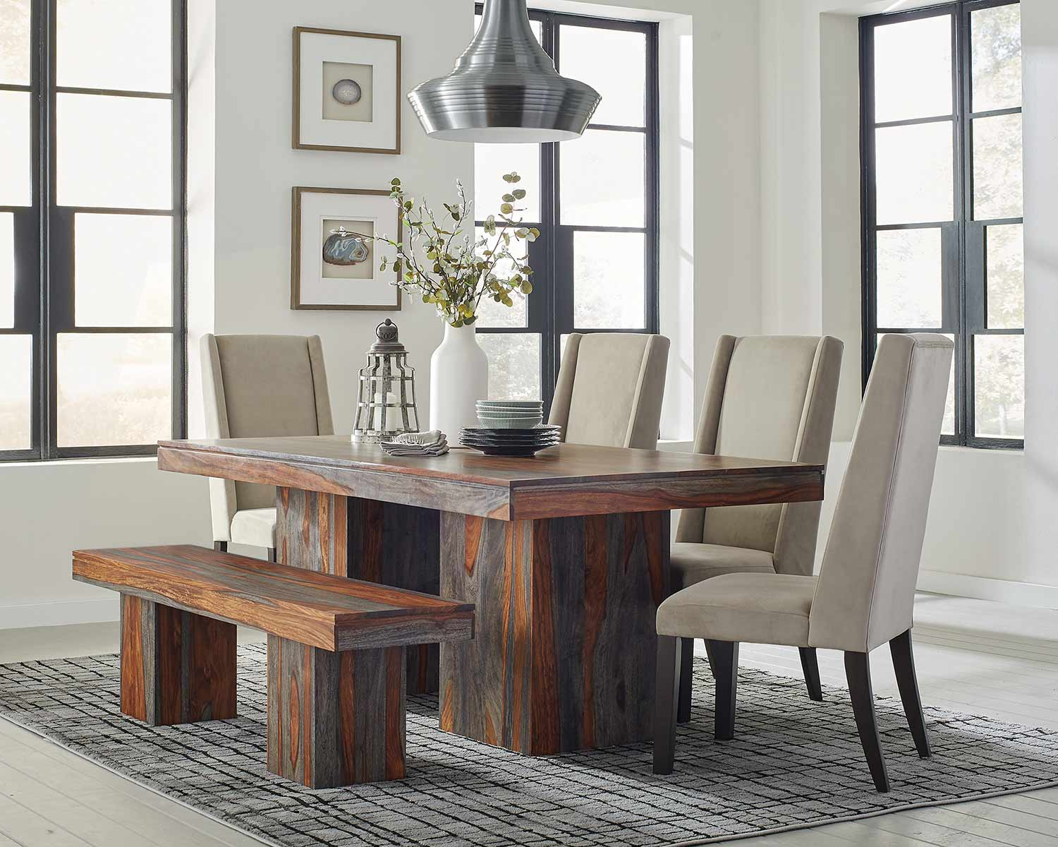Coaster Binghamton Dining Set - Grey Sheesham/Granite