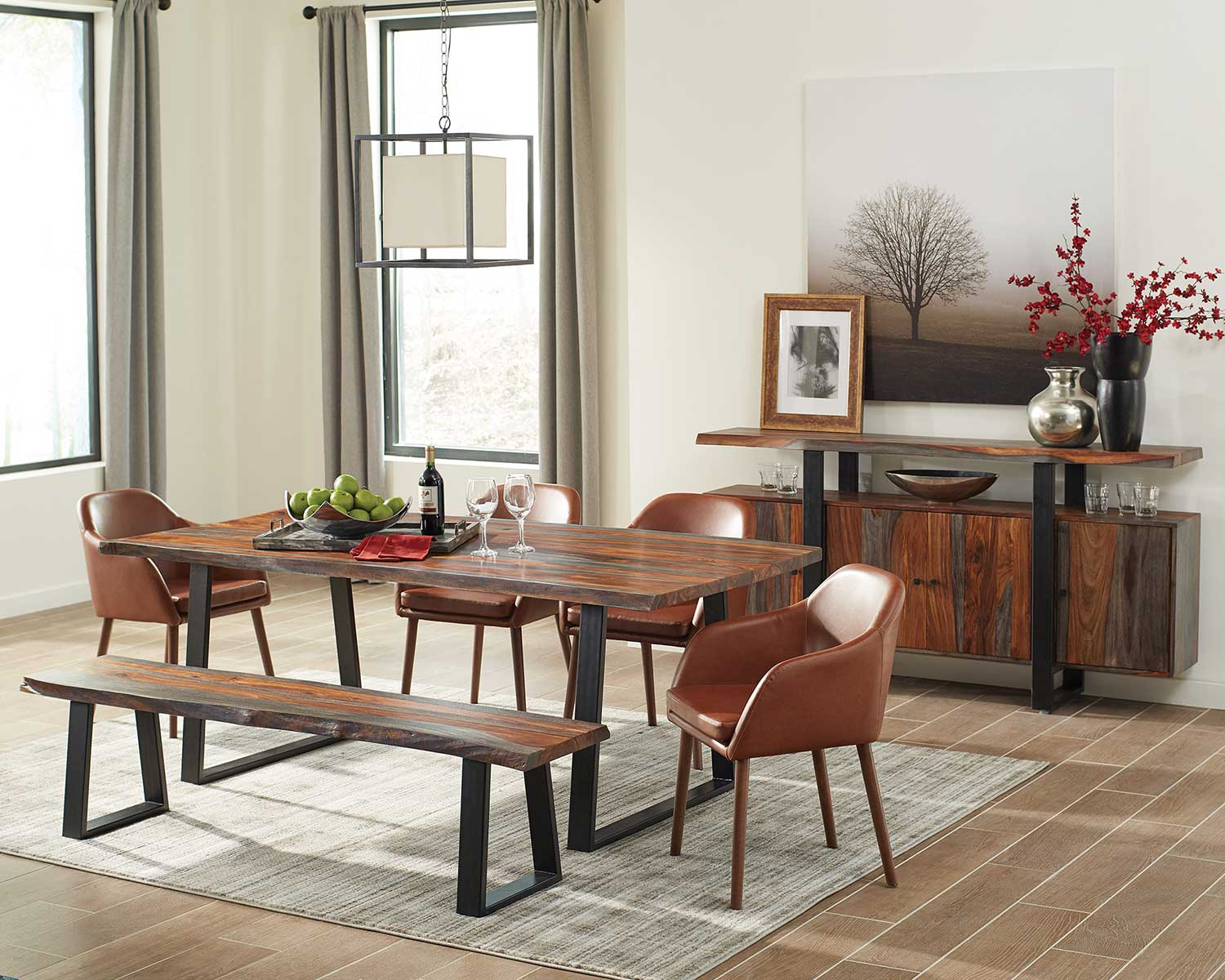 Coaster Jamestown Live Edge Dining Set - Grey/Black/Cognac