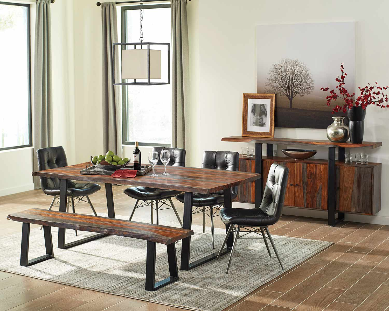 Coaster Jamestown Live Edge Dining Set - Grey/Black/Charcoal