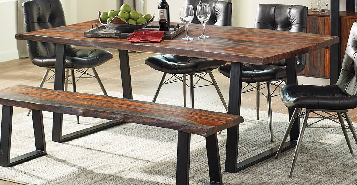 Coaster Jamestown Live Edge Dining Table - Grey/Black
