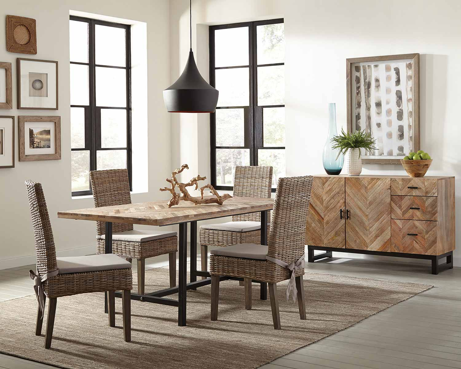 Coaster Thompson Dining Set - Natural Mango/Black Metal