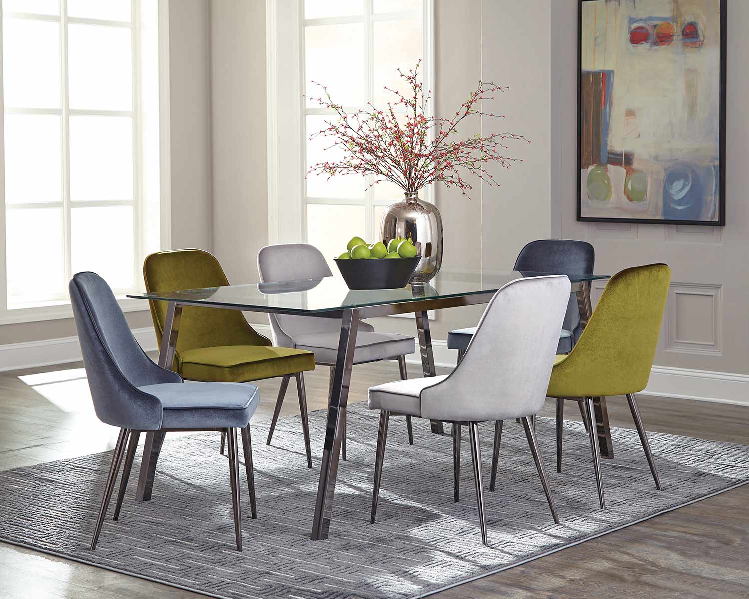 Coaster Inslee Dining Set - Black Nickel/Green/Blue/Grey