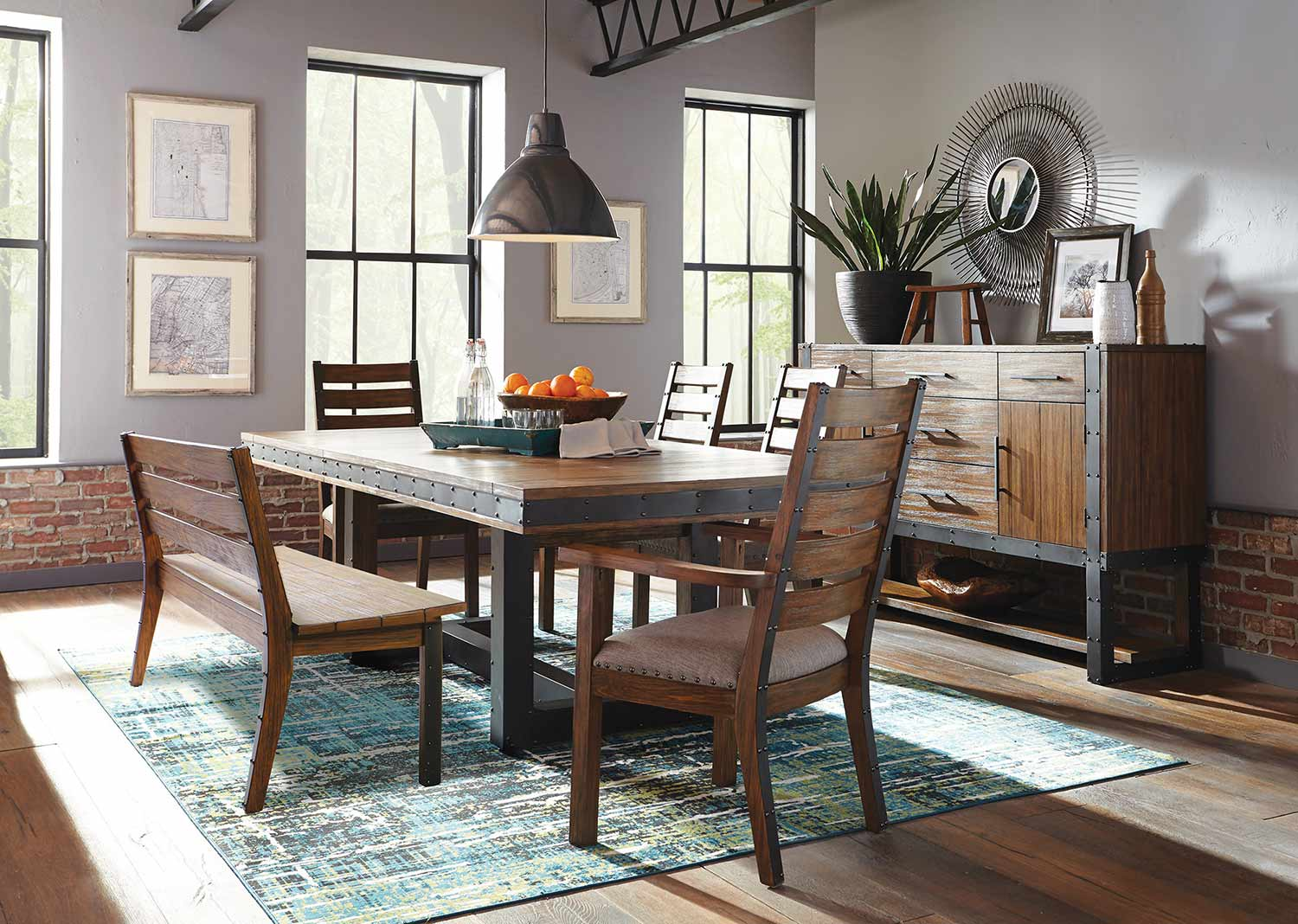 Coaster Atwater Dining Set with Bench - Vintage Bourbon