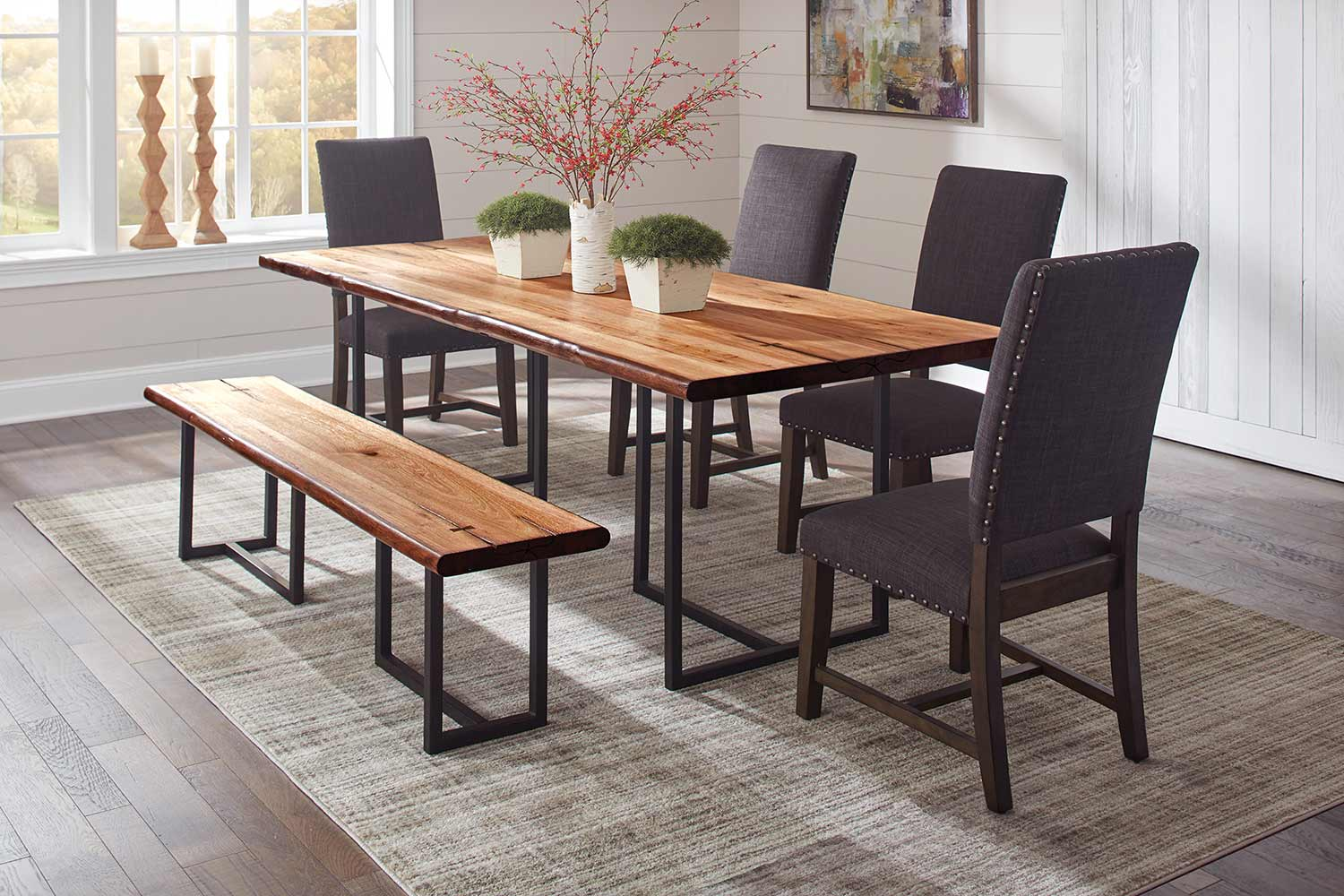 Coaster Suthers Live Edge Dining Set - Natural Honey/Grey
