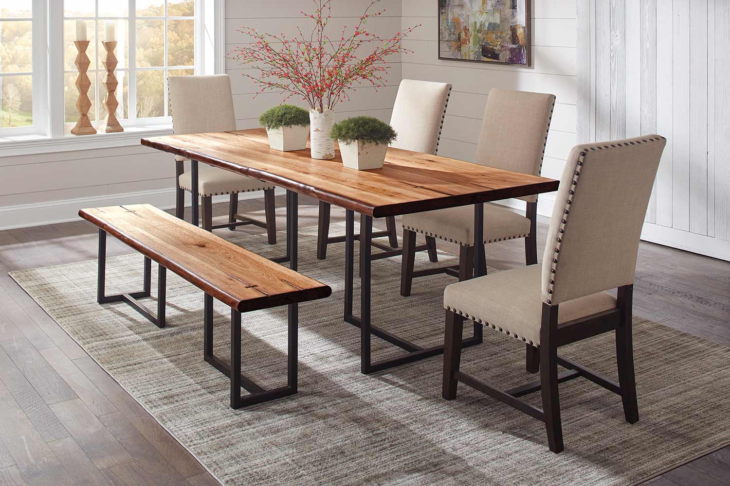 Coaster Suthers Live Edge Dining Set - Natural Honey/Beige
